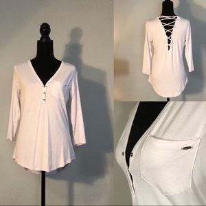 bebe Long Sleeve White Back Lace-Up Shirt Size M